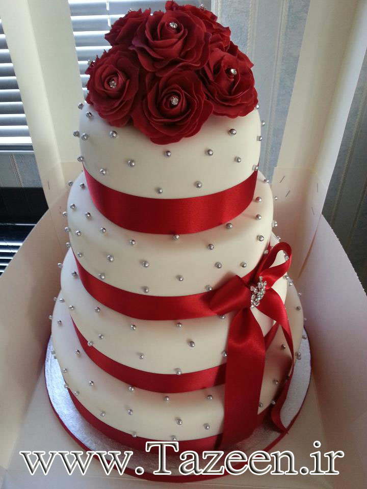 www.tazeen.ir  Red Roses Wedding Cake