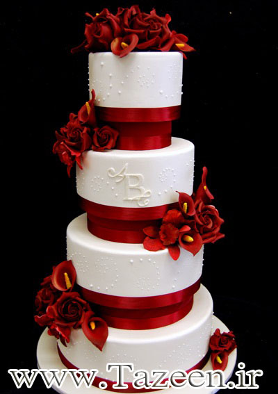 www.tazeen.ir red-rose-wedding-cakes2