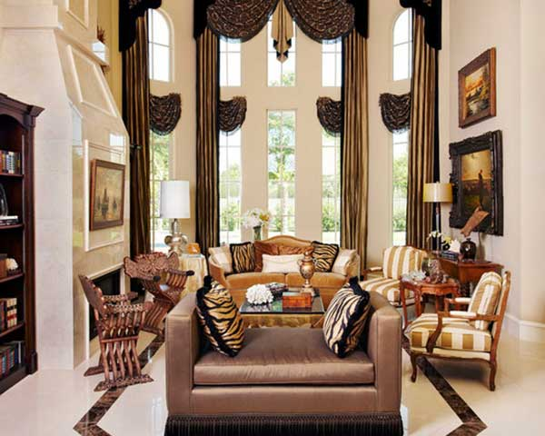Luxury Living Room Design With Black Gold Curtain And Sofa Brown Jpg